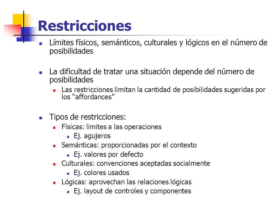 Restricciones Límites físicos, semánticos, culturales y lógicos en el número de posibilidades La dificultad de tratar una situación depende del número
