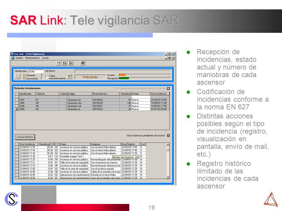 19 SAR Link: Tele vigilancia SAR Recepción de incidencias, estado actual y número de maniobras de cada ascensor Codificación de incidencias conforme a