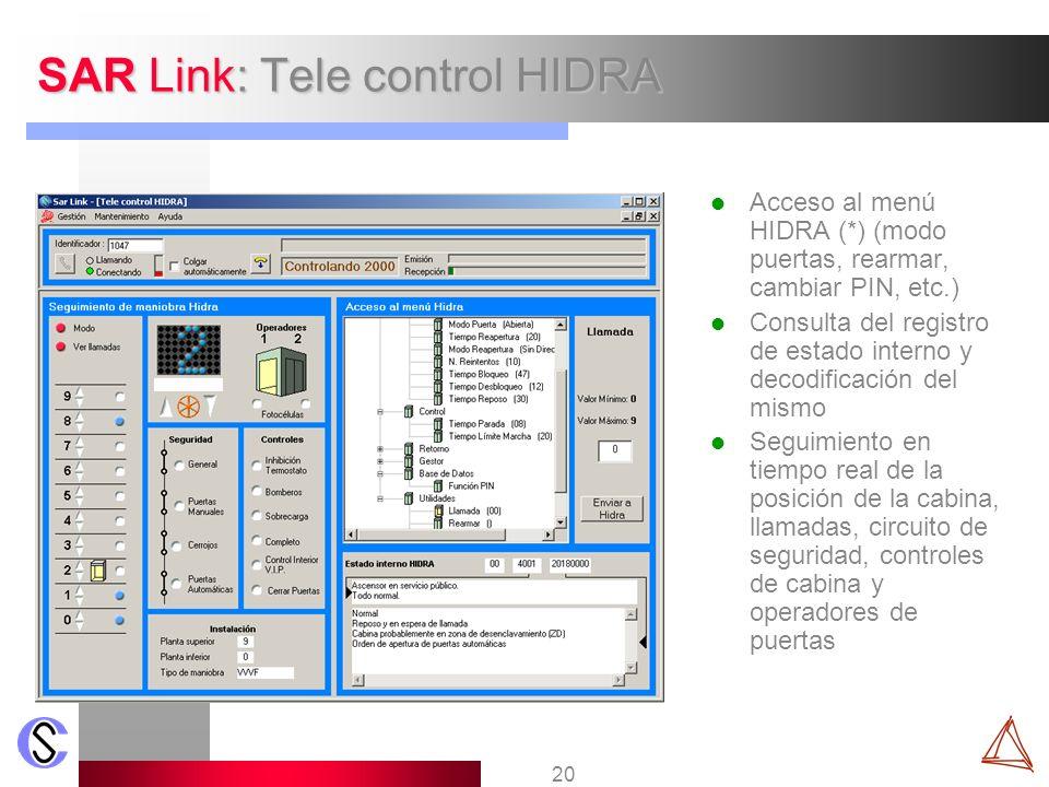 20 SAR Link: Tele control HIDRA Acceso al menú HIDRA (*) (modo puertas, rearmar, cambiar PIN, etc.) Consulta del registro de estado interno y decodifi