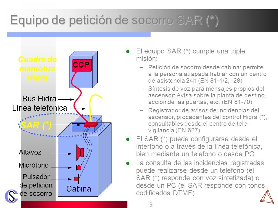 9 Equipo de petición de socorro SAR (*) El equipo SAR (*) cumple una triple misión: –Petición de socorro desde cabina: permite a la persona atrapada h