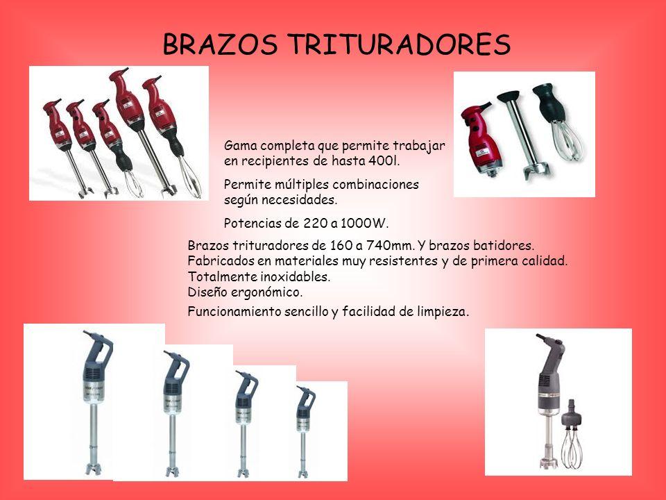 BRAZOS TRITURADORES Gama completa que permite trabajar en recipientes de hasta 400l.