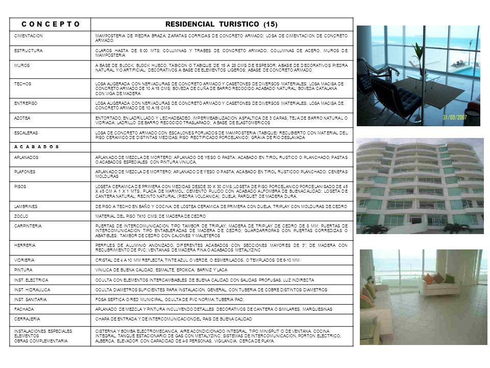 C O N C E P T ORESIDENCIAL TURISTICO (15) CIMENTACIONMAMPOSTERIA DE PIEDRA BRAZA; ZAPATAS CORRIDAS DE CONCRETO ARMADO; LOSA DE CIMENTACION DE CONCRETO