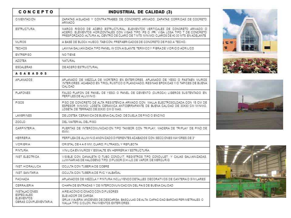 C O N C E P T O INDUSTRIAL DE CALIDAD (3) CIMENTACIONZAPATAS AISLADAS Y CONTRATRABES DE CONCRETO ARMADO; ZAPATAS CORRIDAS DE COCRETO ARMADO ESTRUCTURA