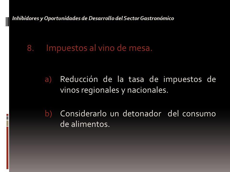 8.Impuestos al vino de mesa. a)Reducción de la tasa de impuestos de vinos regionales y nacionales.