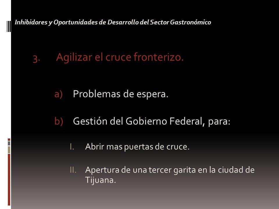 3. Agilizar el cruce fronterizo. a)Problemas de espera.