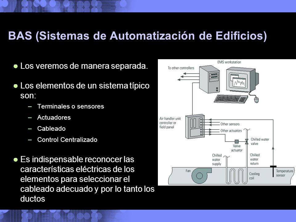 BAS (Sistemas de Automatización de Edificios) Los veremos de manera separada. Los elementos de un sistema típico son: –Terminales o sensores –Actuador
