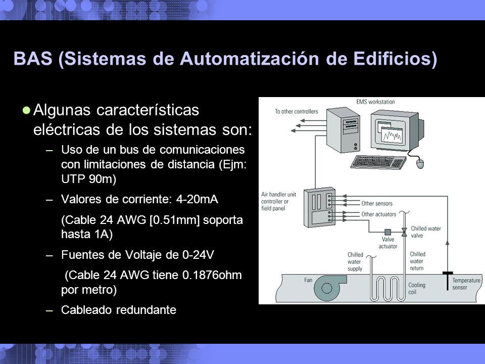 BAS (Sistemas de Automatización de Edificios) Algunas características eléctricas de los sistemas son: –Uso de un bus de comunicaciones con limitacione