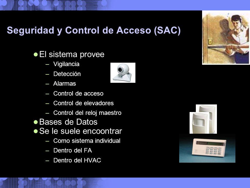 Seguridad y Control de Acceso (SAC) El sistema provee –Vigilancia –Detección –Alarmas –Control de acceso –Control de elevadores –Control del reloj mae