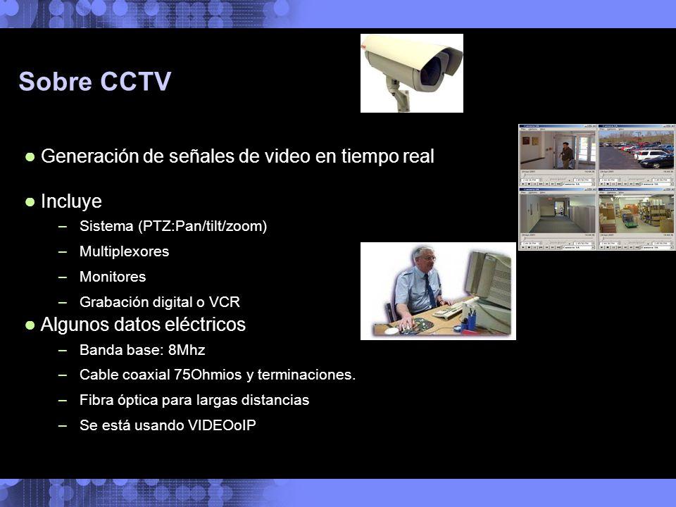 Sobre CCTV Generación de señales de video en tiempo real Incluye –Sistema (PTZ:Pan/tilt/zoom) –Multiplexores –Monitores –Grabación digital o VCR Algun