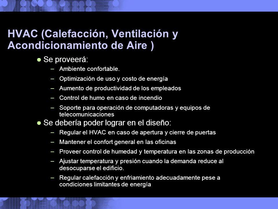 HVAC (Calefacción, Ventilación y Acondicionamiento de Aire ) Se proveerá: –Ambiente confortable. –Optimización de uso y costo de energía –Aumento de p