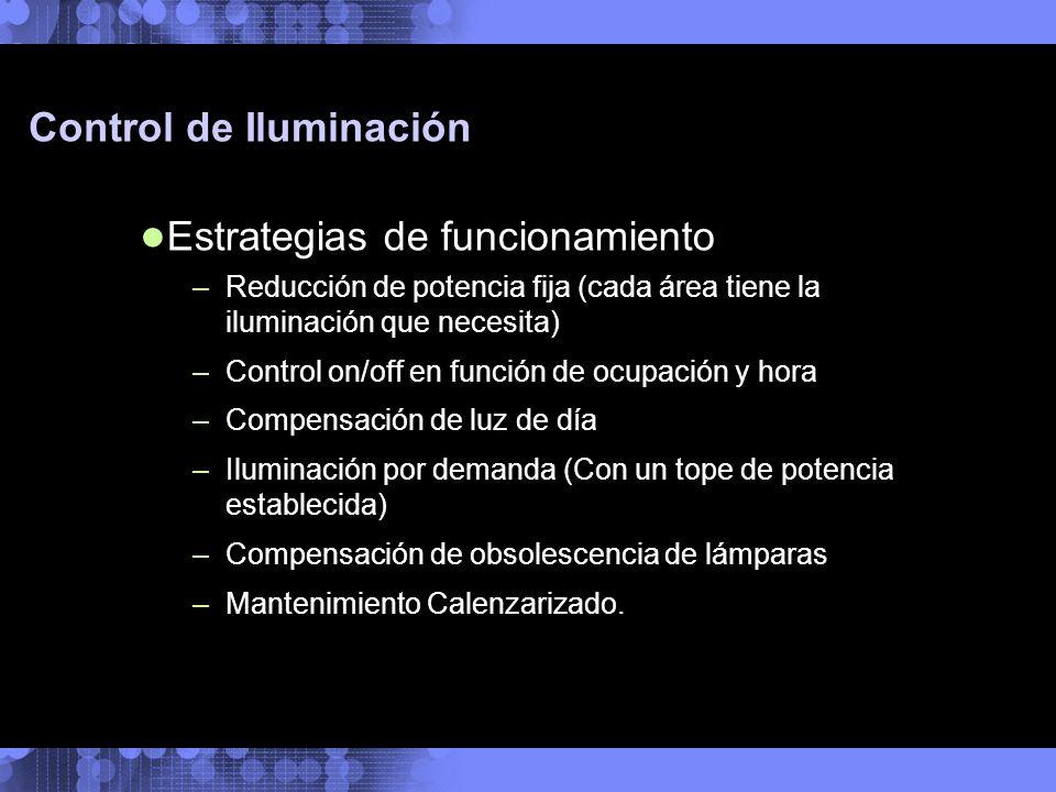 Control de Iluminación Estrategias de funcionamiento –Reducción de potencia fija (cada área tiene la iluminación que necesita) –Control on/off en func