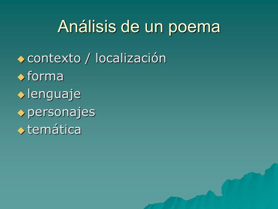 Análisis de un poema contexto / localización contexto / localización forma forma lenguaje lenguaje personajes personajes temática temática
