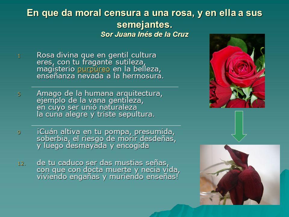 En que da moral censura a una rosa, y en ella a sus semejantes. Sor Juana Inés de la Cruz 1 Rosa divina que en gentil cultura eres, con tu fragante su