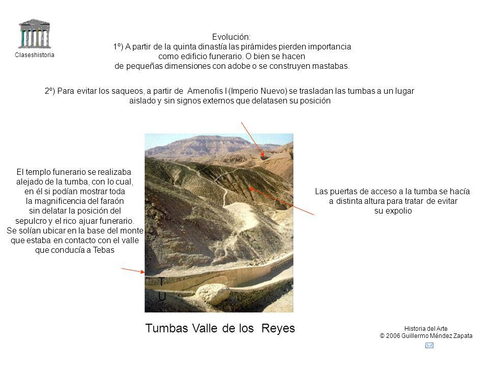 Claseshistoria Historia del Arte © 2006 Guillermo Méndez Zapata TUTU Tumbas Valle de los Reyes Evolución: 1º) A partir de la quinta dinastía las pirámides pierden importancia como edificio funerario.