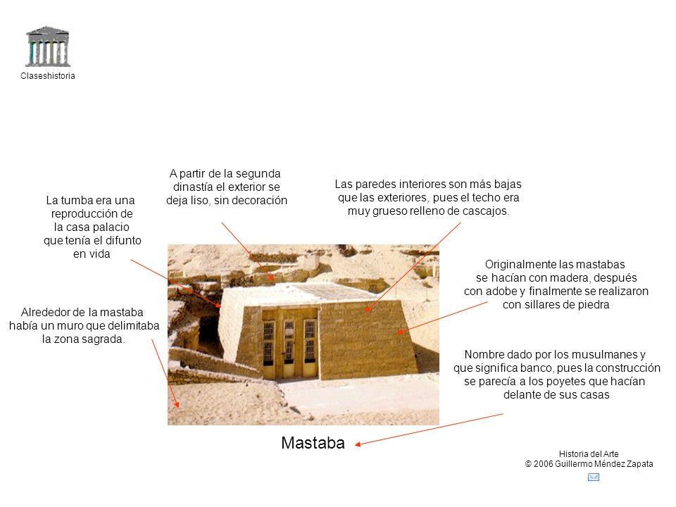 Claseshistoria Historia del Arte © 2006 Guillermo Méndez Zapata Croquis mastaba Cámara subterránea principal orientada al oeste destinada para el sarcófago Cámaras secundarias destinadas al ajuar funerario más valioso Pozo para bajar al difunto (con el tiempo se prefirió el de forma de L).