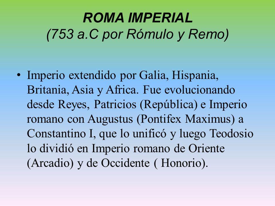 ROMA IMPERIAL (753 a.C por Rómulo y Remo) Imperio extendido por Galia, Hispania, Britania, Asia y Africa. Fue evolucionando desde Reyes, Patricios (Re
