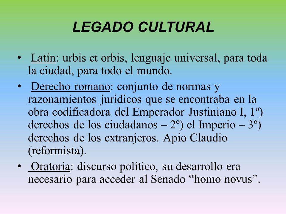 LEGADO CULTURAL Latín: urbis et orbis, lenguaje universal, para toda la ciudad, para todo el mundo. Derecho romano: conjunto de normas y razonamientos