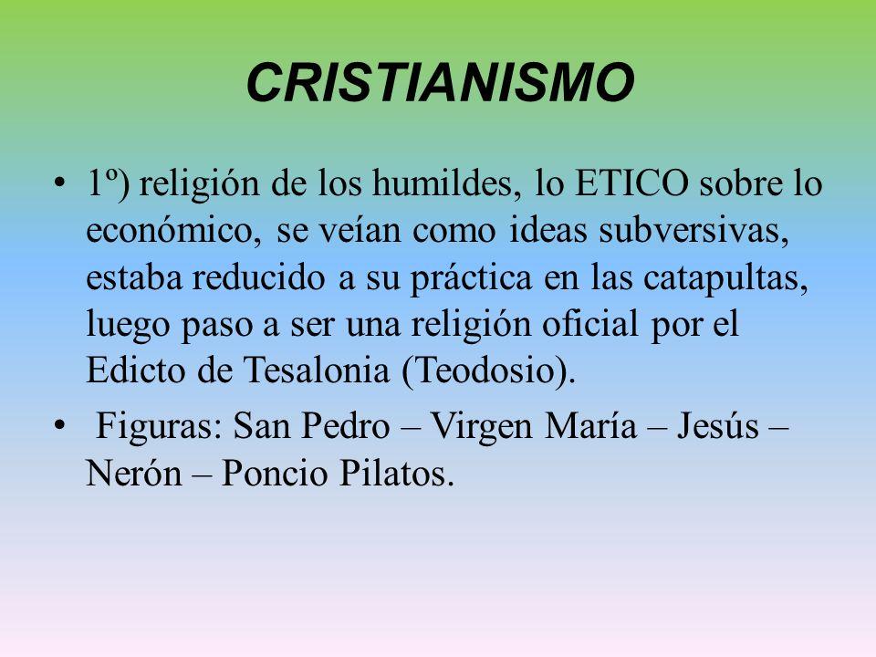 CRISTIANISMO 1º) religión de los humildes, lo ETICO sobre lo económico, se veían como ideas subversivas, estaba reducido a su práctica en las catapult