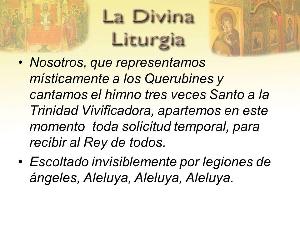 Nosotros, que representamos místicamente a los Querubines y cantamos el himno tres veces Santo a la Trinidad Vivificadora, apartemos en este momento t