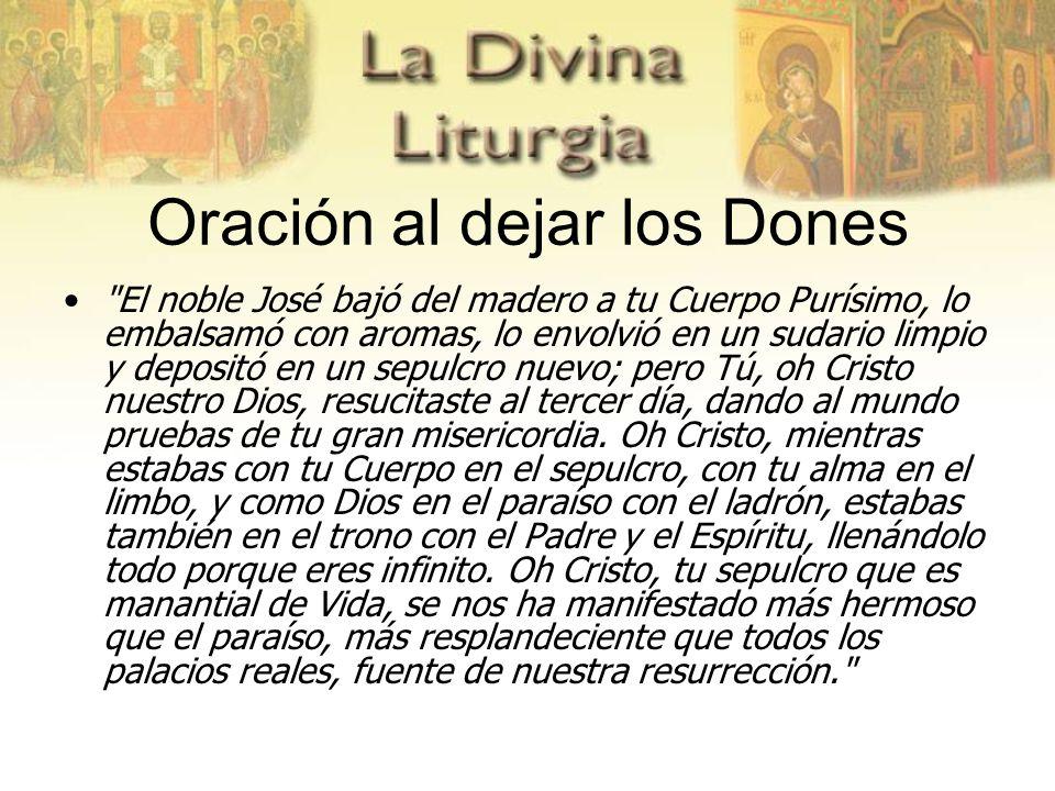 Oración al dejar los Dones