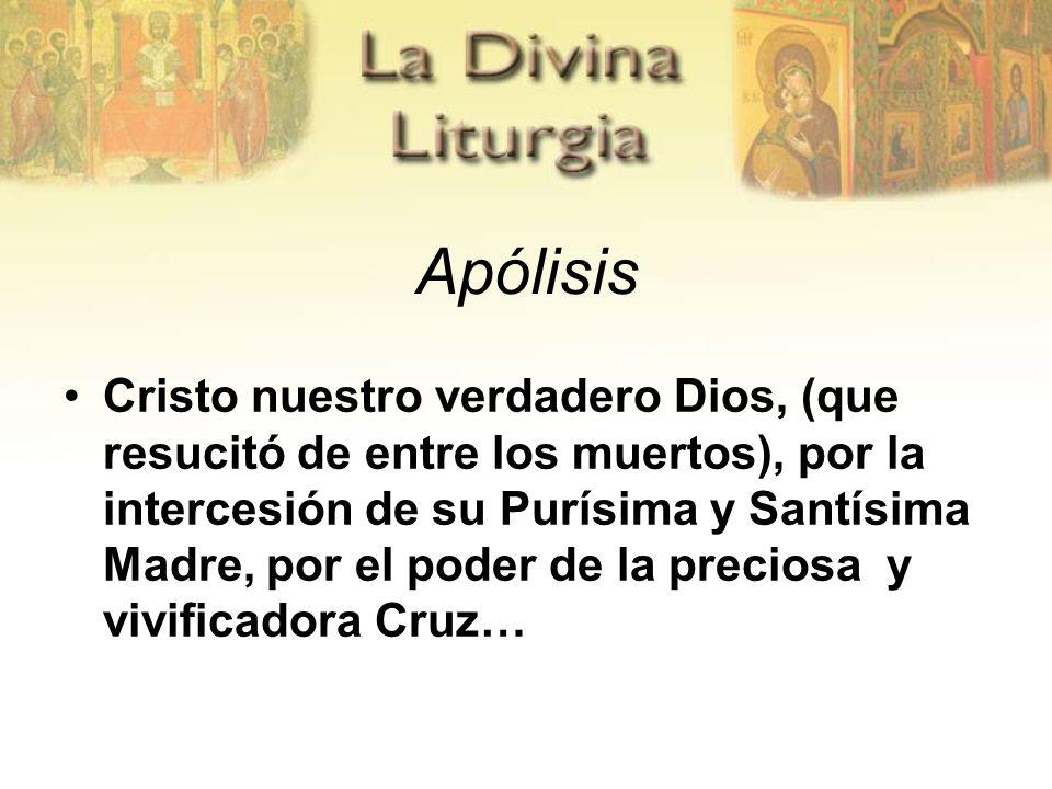 Apólisis Cristo nuestro verdadero Dios, (que resucitó de entre los muertos), por la intercesión de su Purísima y Santísima Madre, por el poder de la preciosa y vivificadora Cruz…