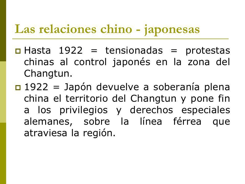 Las relaciones chino - japonesas Hasta 1922 = tensionadas = protestas chinas al control japonés en la zona del Changtun.