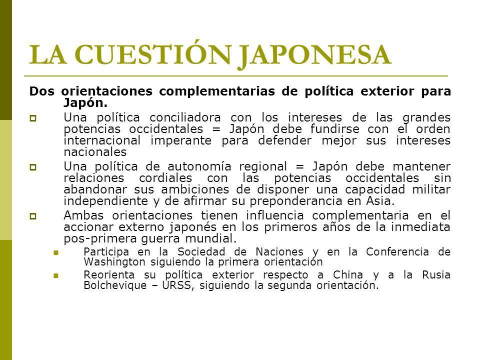 LA CUESTIÓN JAPONESA Dos orientaciones complementarias de política exterior para Japón.
