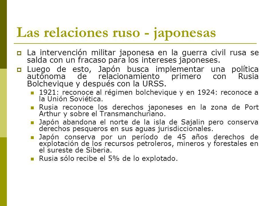 Las relaciones ruso - japonesas La intervención militar japonesa en la guerra civil rusa se salda con un fracaso para los intereses japoneses.