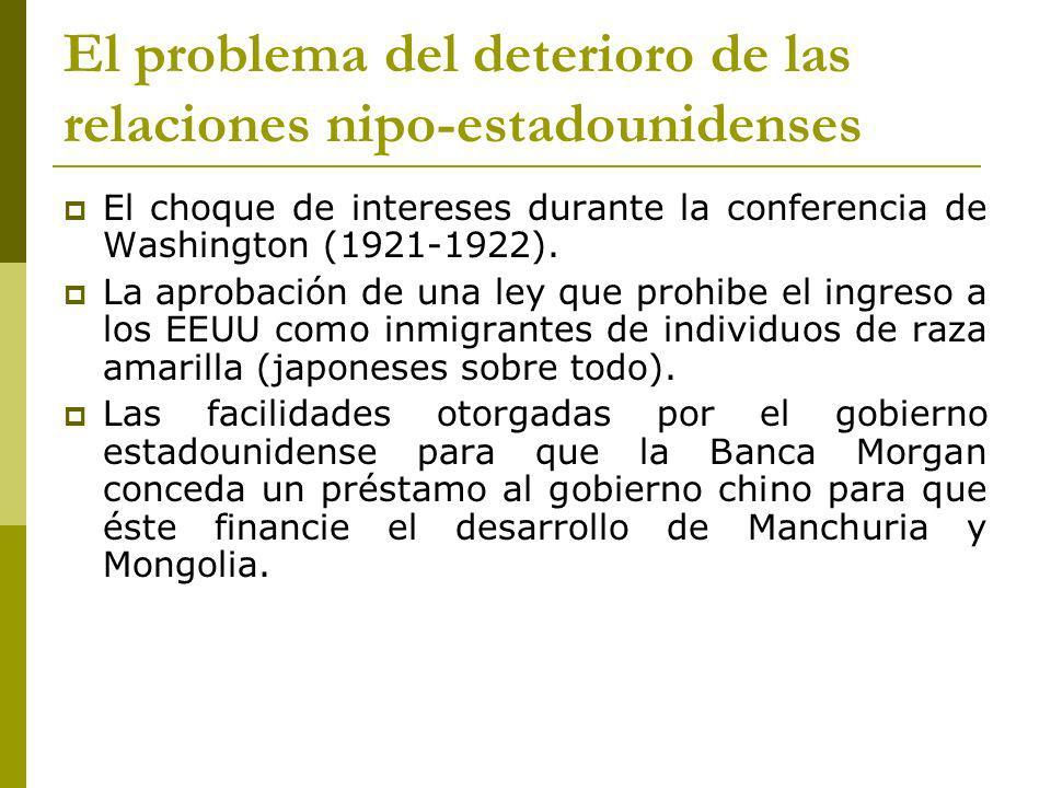 El problema del deterioro de las relaciones nipo-estadounidenses El choque de intereses durante la conferencia de Washington (1921-1922).