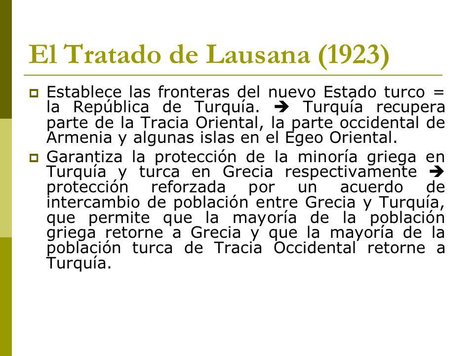 El Tratado de Lausana (1923) Establece las fronteras del nuevo Estado turco = la República de Turquía.