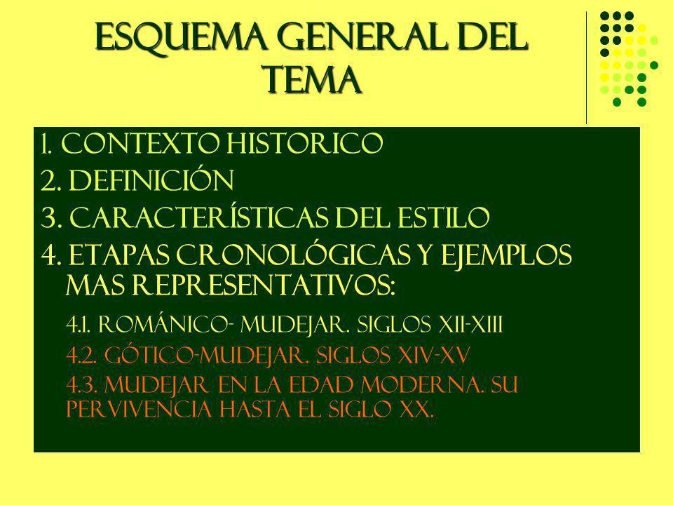 ESQUEMA GENERAL DEL TEMA 1. CONTEXTO HISTORICO 2. DEFINICIÓN 3. CARACTERÍSTICAS DEL ESTILO 4. ETAPAS CRONOLÓGICAS Y EJEMPLOS MAS REPRESENTATIVOS: 4.1.