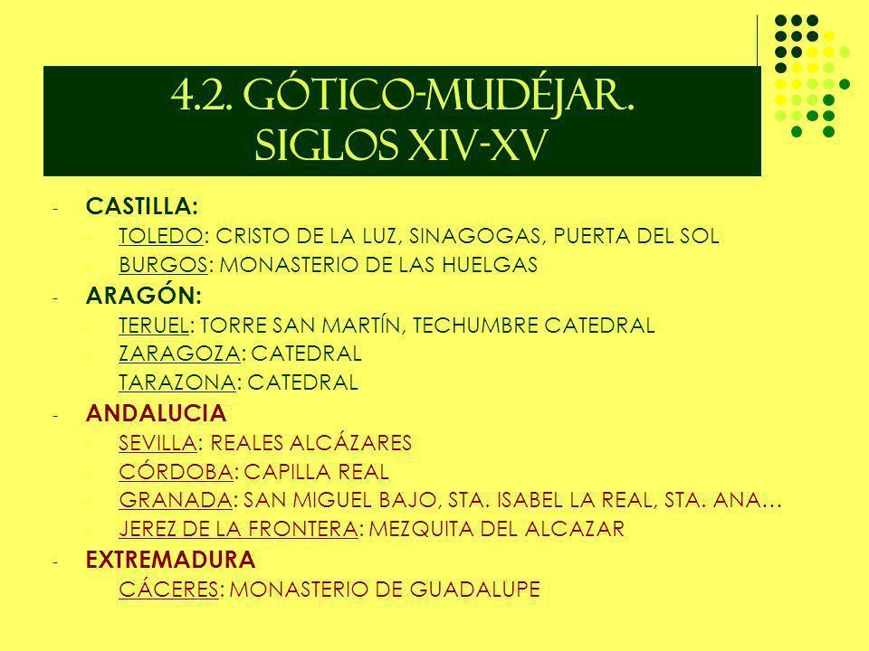4.2. GÓTICO-MUDÉJAR. SIGLOS XIV-XV - CASTILLA: - TOLEDO: CRISTO DE LA LUZ, SINAGOGAS, PUERTA DEL SOL - BURGOS: MONASTERIO DE LAS HUELGAS - ARAGÓN: - T