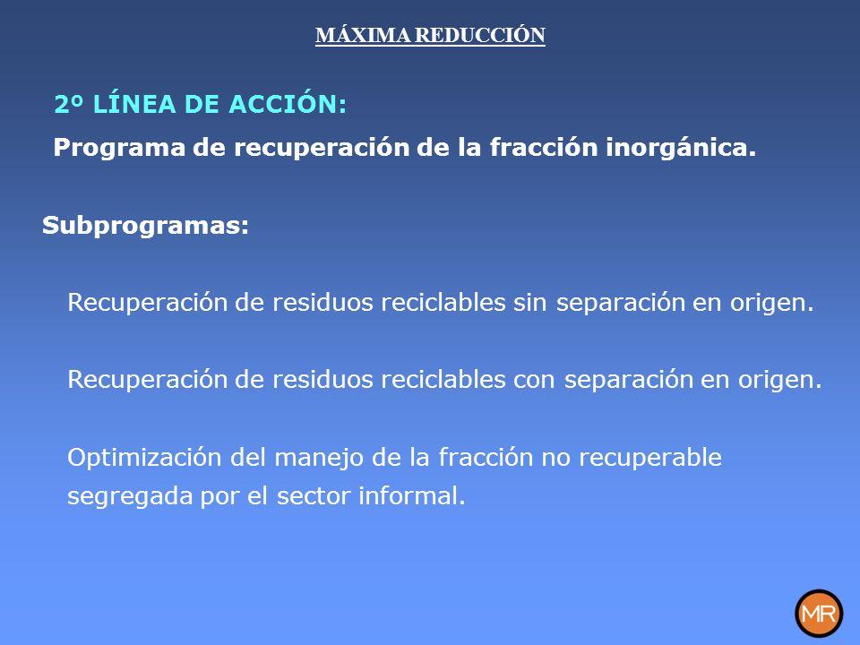Subprogramas: Recuperación de residuos reciclables sin separación en origen.
