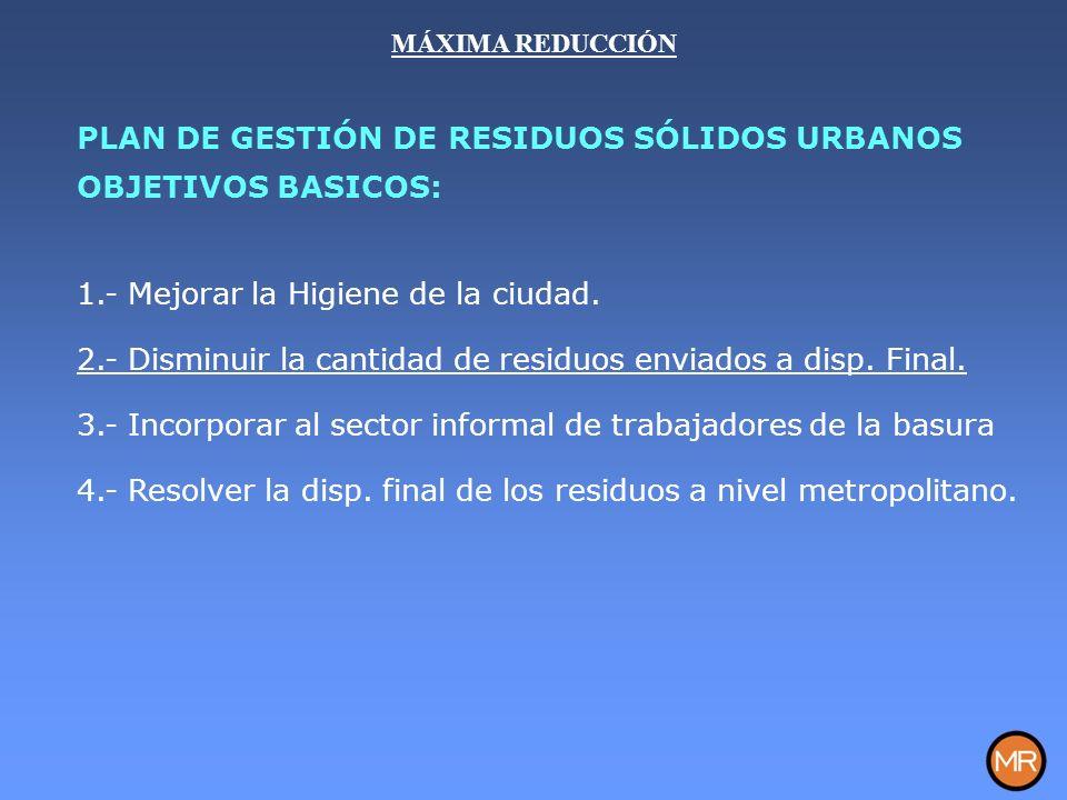 MÁXIMA REDUCCIÓN PLAN DE GESTIÓN DE RESIDUOS SÓLIDOS URBANOS OBJETIVOS BASICOS: 1.- Mejorar la Higiene de la ciudad.