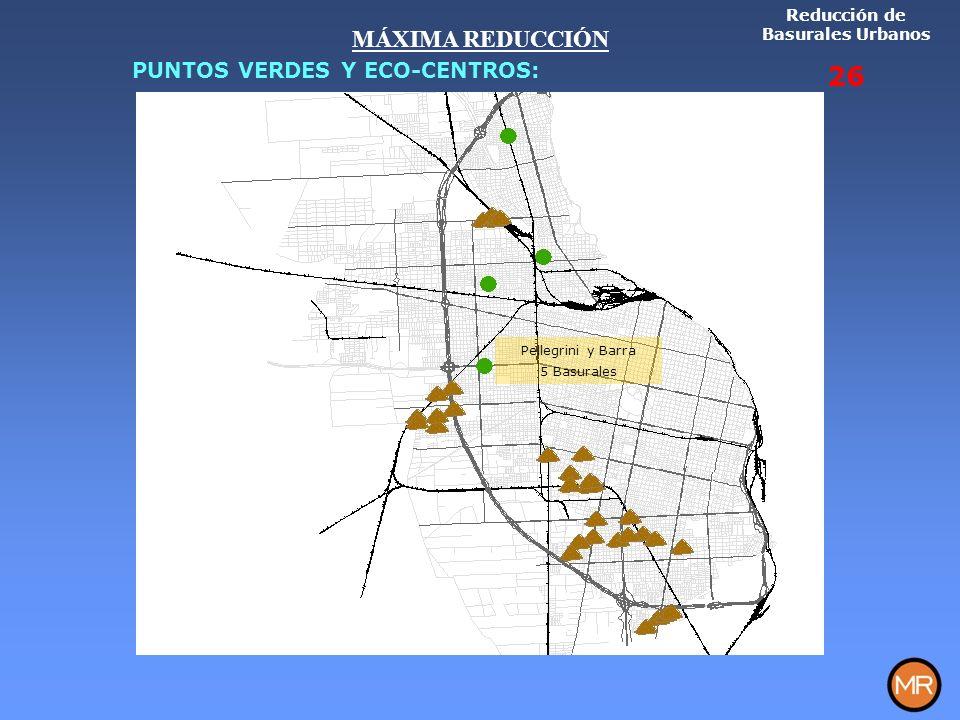 Pellegrini y Barra 5 Basurales Reducción de Basurales Urbanos 26 MÁXIMA REDUCCIÓN PUNTOS VERDES Y ECO-CENTROS: