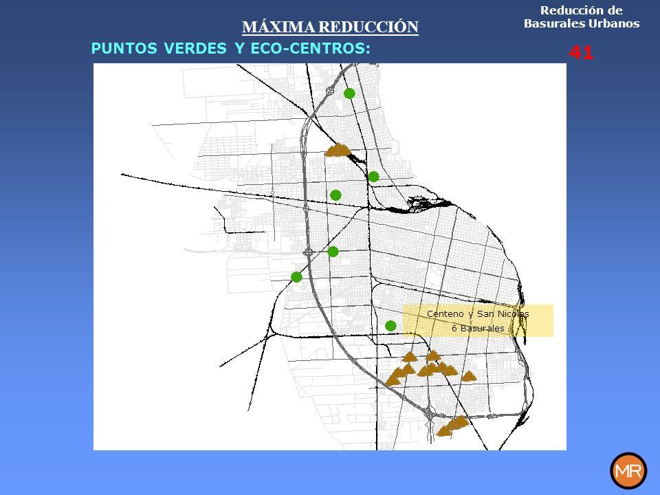 Centeno y San Nicolas 6 Basurales Reducción de Basurales Urbanos 41 MÁXIMA REDUCCIÓN PUNTOS VERDES Y ECO-CENTROS: