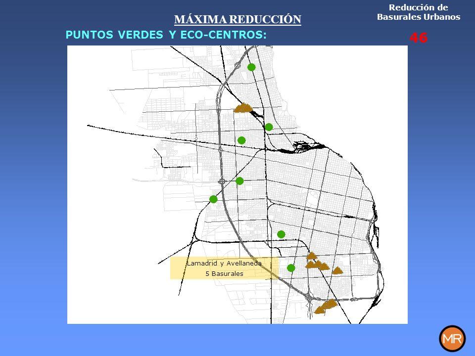 Lamadrid y Avellaneda 5 Basurales Reducción de Basurales Urbanos 46 MÁXIMA REDUCCIÓN PUNTOS VERDES Y ECO-CENTROS: