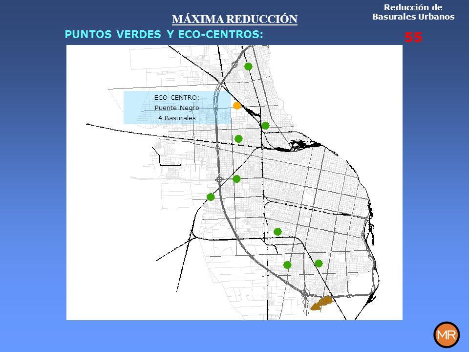 ECO CENTRO: Puente Negro 4 Basurales Reducción de Basurales Urbanos 55 MÁXIMA REDUCCIÓN PUNTOS VERDES Y ECO-CENTROS: