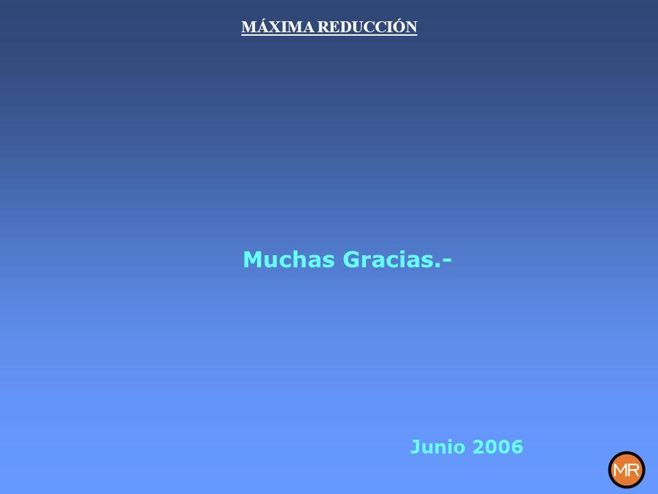 MÁXIMA REDUCCIÓN Muchas Gracias.- Junio 2006