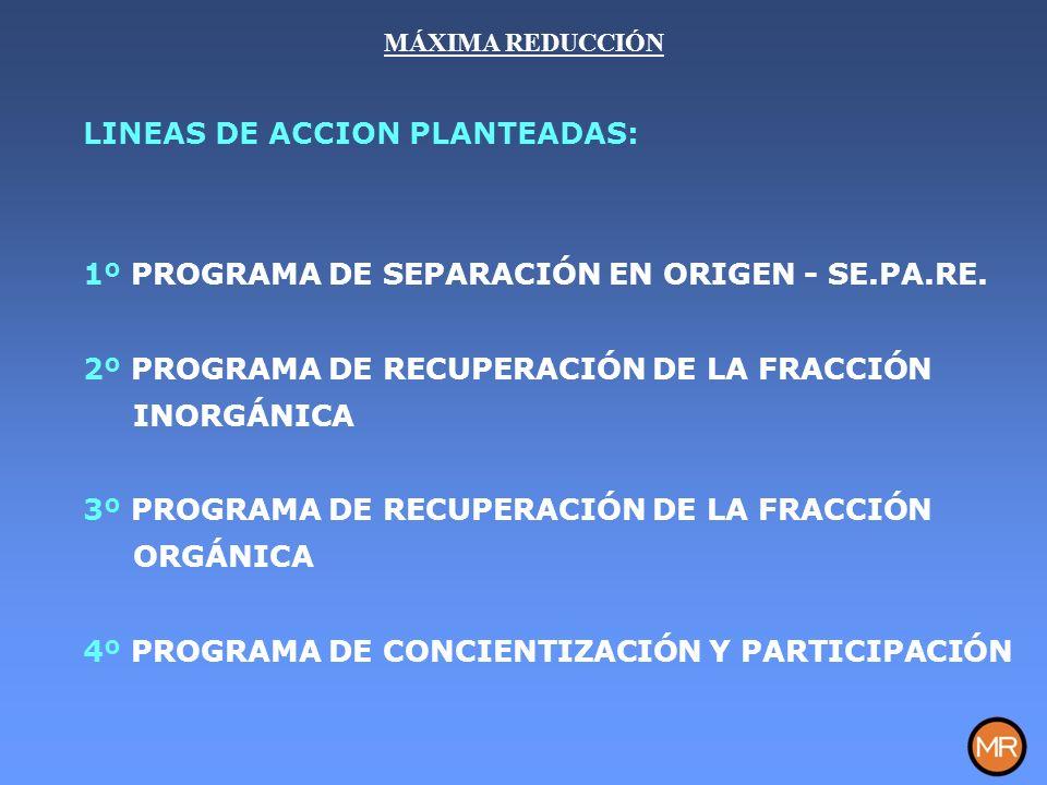 LINEAS DE ACCION PLANTEADAS: 1º PROGRAMA DE SEPARACIÓN EN ORIGEN - SE.PA.RE.