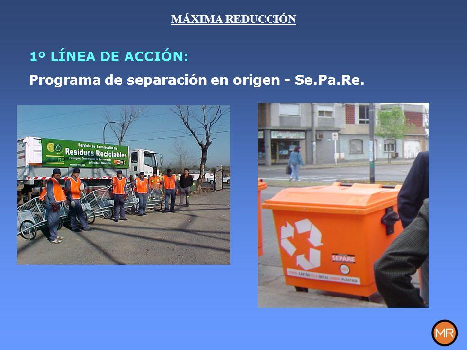 1º LÍNEA DE ACCIÓN: Programa de separación en origen - Se.Pa.Re. MÁXIMA REDUCCIÓN