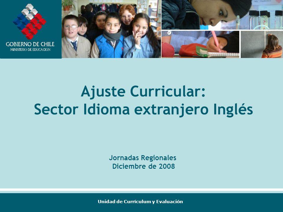 Unidad de Currículum y Evaluación Ajuste Curricular: Sector Idioma extranjero Inglés Jornadas Regionales Diciembre de 2008