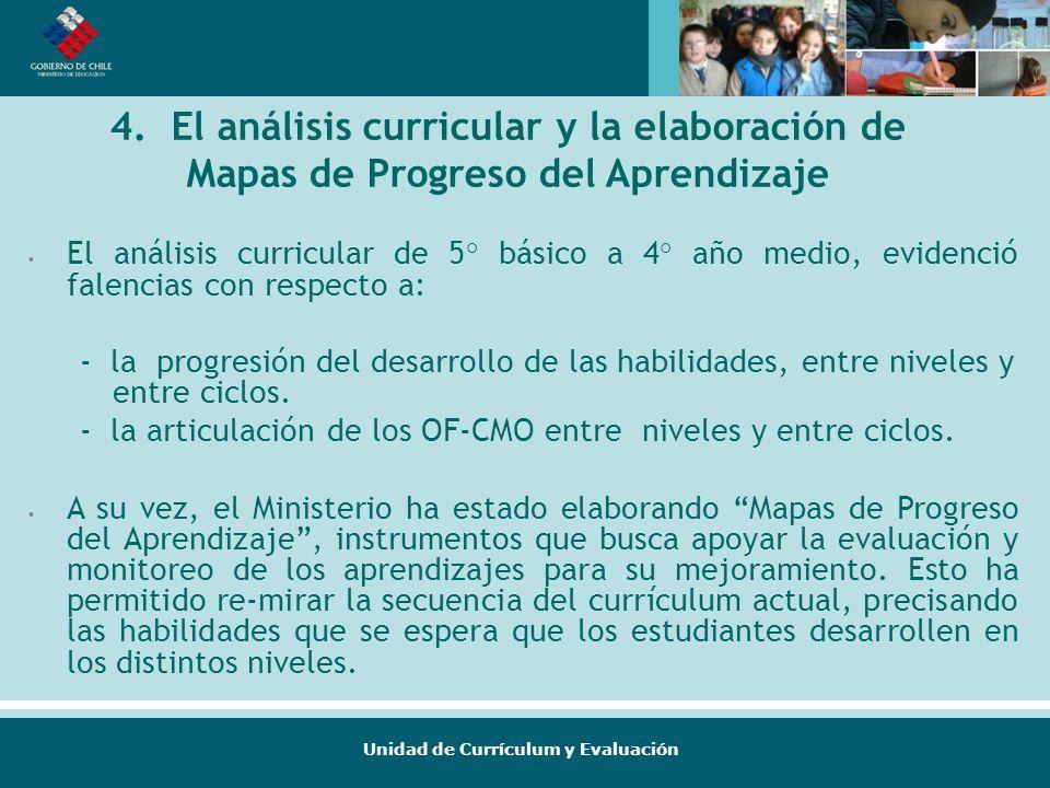 Unidad de Currículum y Evaluación 4. El análisis curricular y la elaboración de Mapas de Progreso del Aprendizaje El análisis curricular de 5° básico