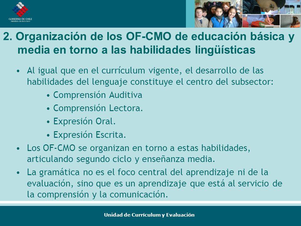 Unidad de Currículum y Evaluación 2. Organización de los OF-CMO de educación básica y media en torno a las habilidades lingüísticas Al igual que en el