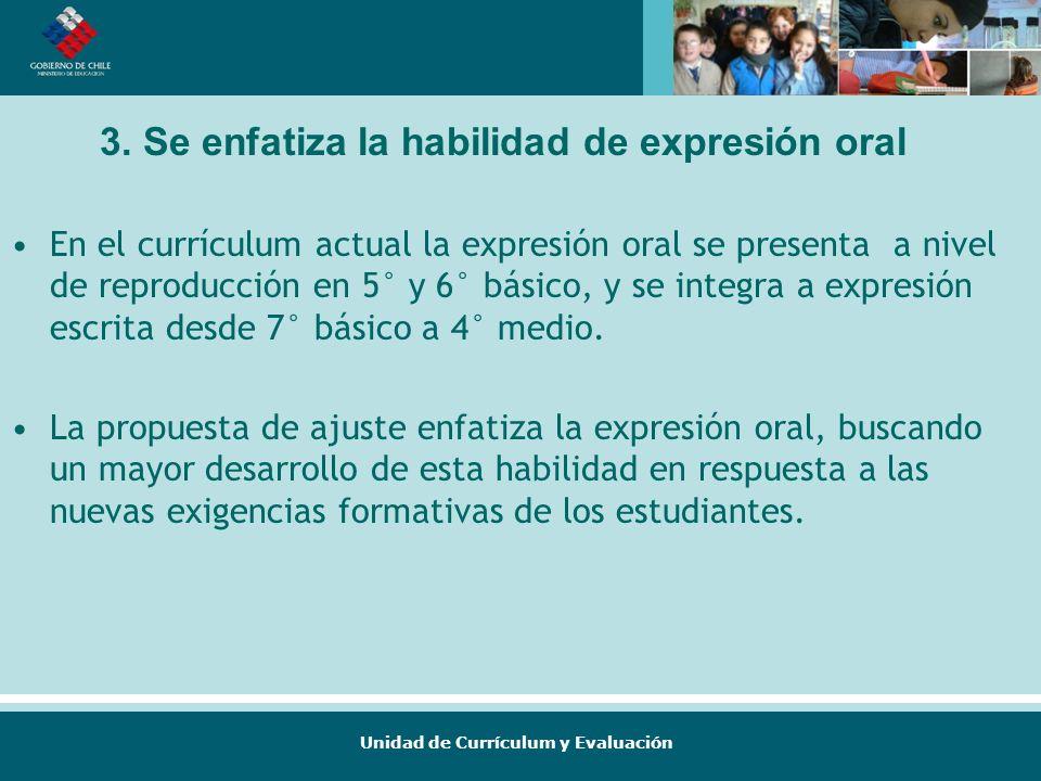 Unidad de Currículum y Evaluación En el currículum actual la expresión oral se presenta a nivel de reproducción en 5° y 6° básico, y se integra a expr