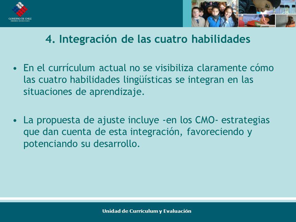 Unidad de Currículum y Evaluación 4. Integración de las cuatro habilidades En el currículum actual no se visibiliza claramente cómo las cuatro habilid