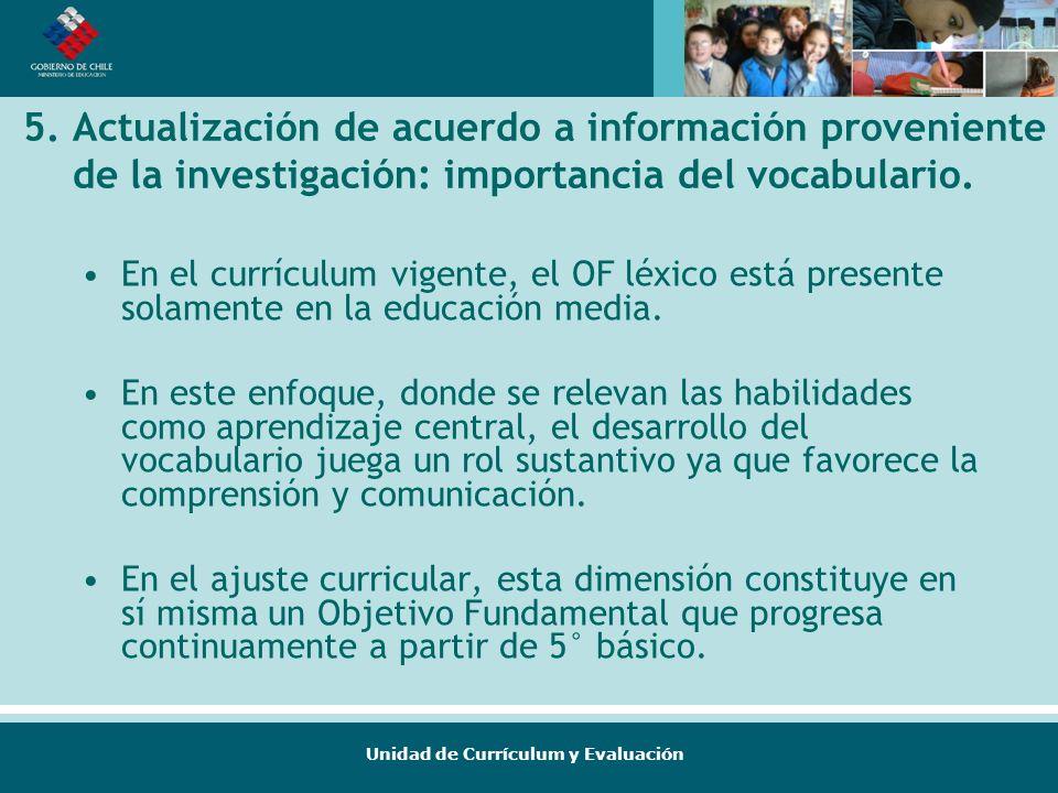 Unidad de Currículum y Evaluación 5. Actualización de acuerdo a información proveniente de la investigación: importancia del vocabulario. En el curríc