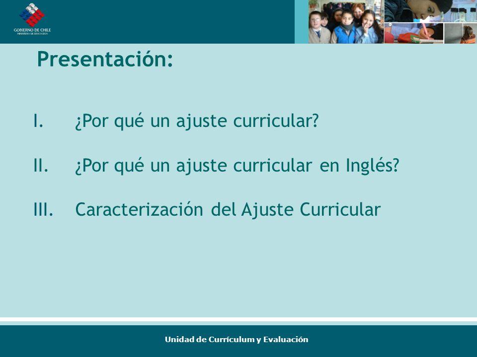 Unidad de Currículum y Evaluación Presentación: I.¿Por qué un ajuste curricular? II.¿Por qué un ajuste curricular en Inglés? III.Caracterización del A