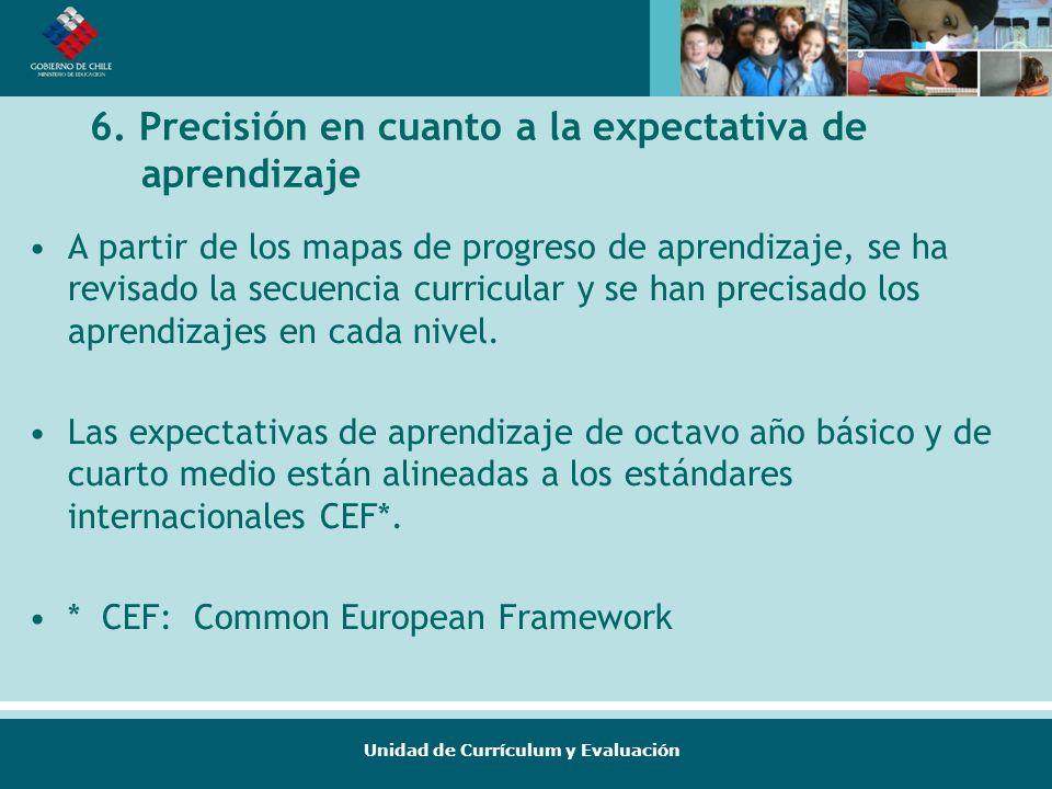 Unidad de Currículum y Evaluación 6. Precisión en cuanto a la expectativa de aprendizaje A partir de los mapas de progreso de aprendizaje, se ha revis
