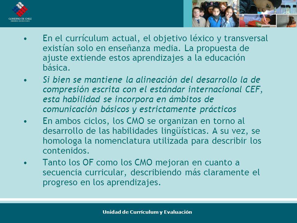 Unidad de Currículum y Evaluación En el currículum actual, el objetivo léxico y transversal existían solo en enseñanza media. La propuesta de ajuste e